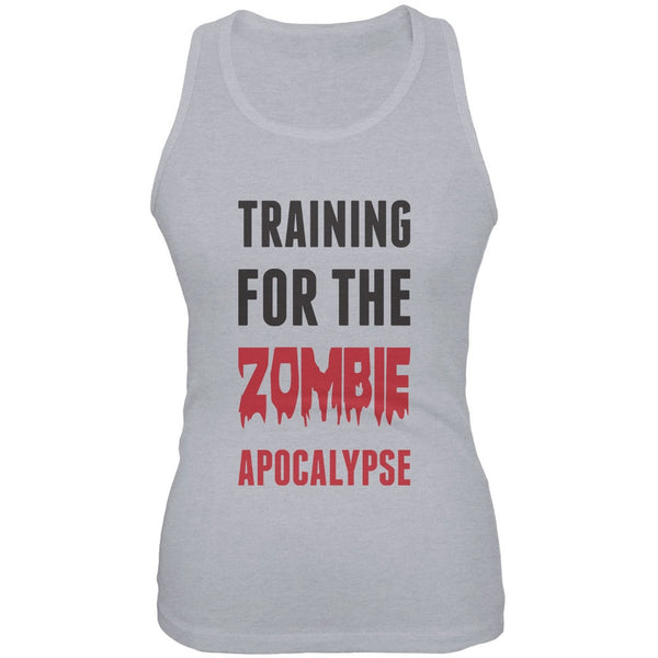 Training for the Zombie Apocalypse Heather Grey Juniors Soft Tank Top
