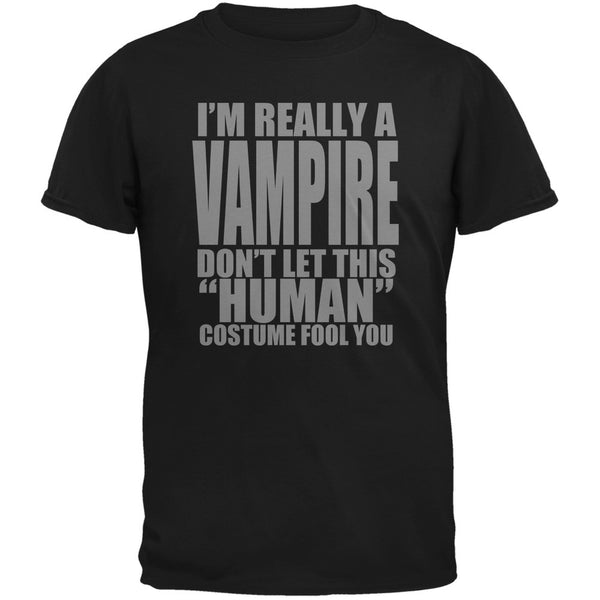 Halloween Human Vampire Costume Black Adult T-Shirt