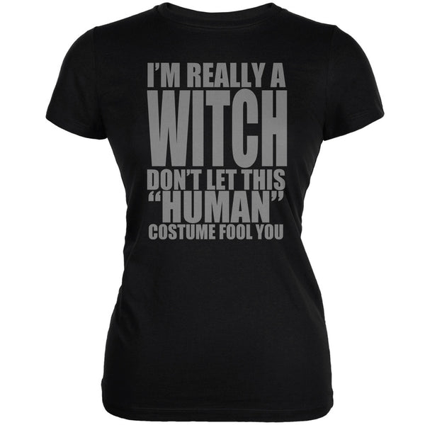 Halloween Human Witch Costume Black Juniors Soft T-Shirt