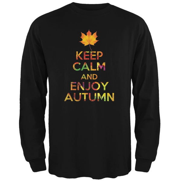 Keep Calm Enjoy Autumn Fall Black Adult Long Sleeve T-Shirt