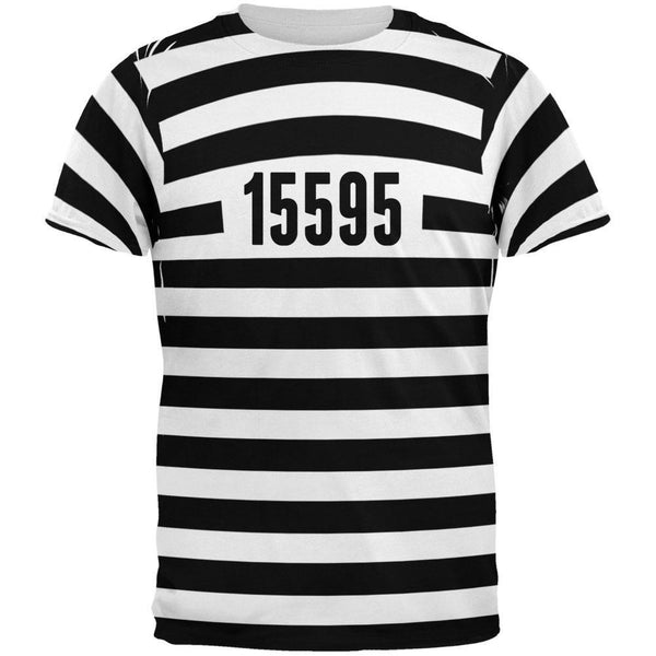 Halloween Prisoner Old Time Striped Costume All Over Adult T-Shirt