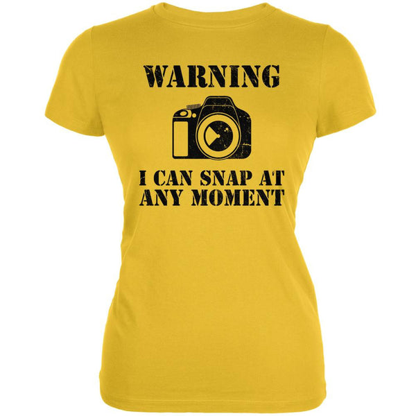Photographer Snap At Any Moment Bright Yellow Juniors Soft T-Shirt