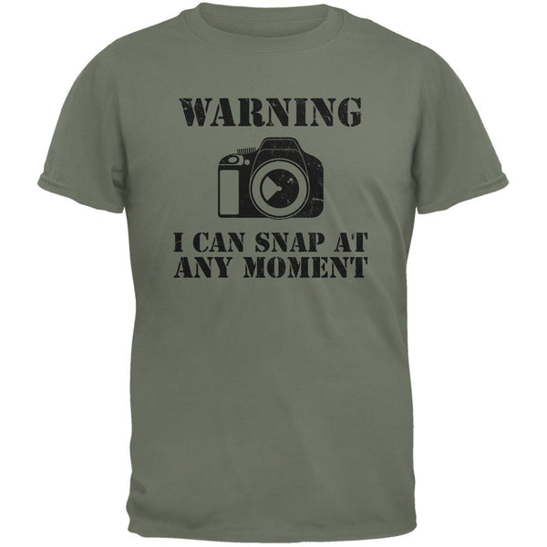Photographer Snap At Any Moment Military Green Adult T-Shirt