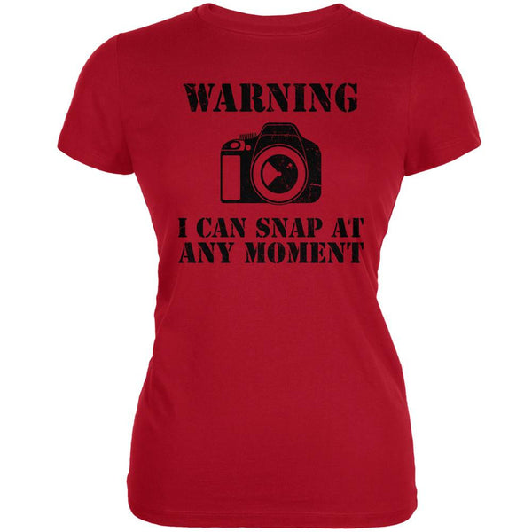 Photographer Snap At Any Moment Red Juniors Soft T-Shirt