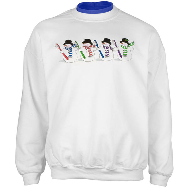 Dentist's Colorful Snowmen With Toothbrushes Adult 2Fer Crew Sweatshirt