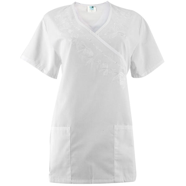 Floral White Women's Scrub Top