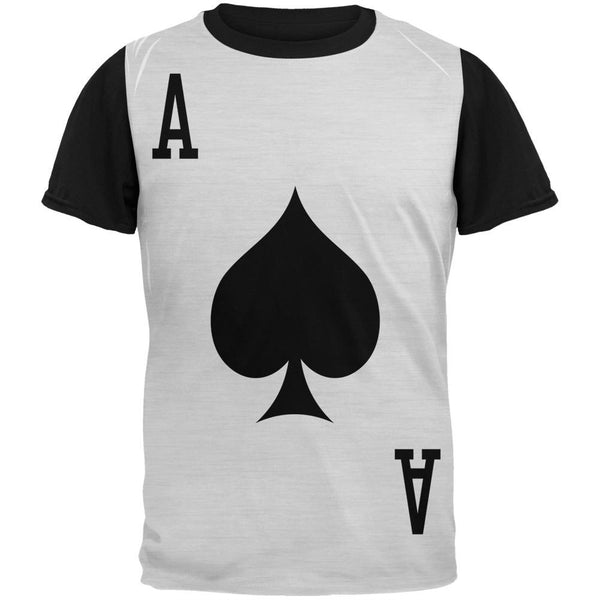 Halloween Ace of Spades Card Soldier Costume Adult Black Back T-Shirt