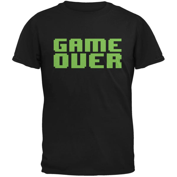8 Bit Game Over Black Adult T-Shirt