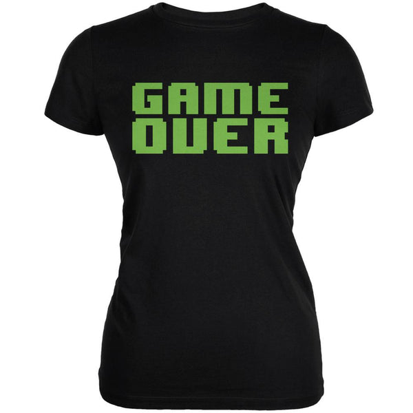 8 Bit Game Over Black Juniors Soft T-Shirt