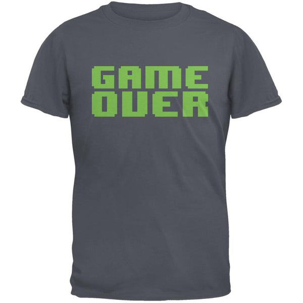 8 Bit Game Over Charcoal Grey Adult T-Shirt