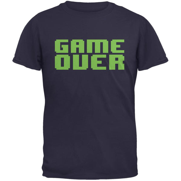 8 Bit Game Over Navy Adult T-Shirt