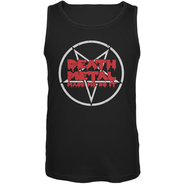 Death Metal Made Me Do It Black Adult Tank Top