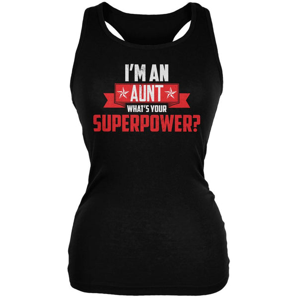 I'm An Aunt What's Your Superpower Black Juniors Soft Tank Top