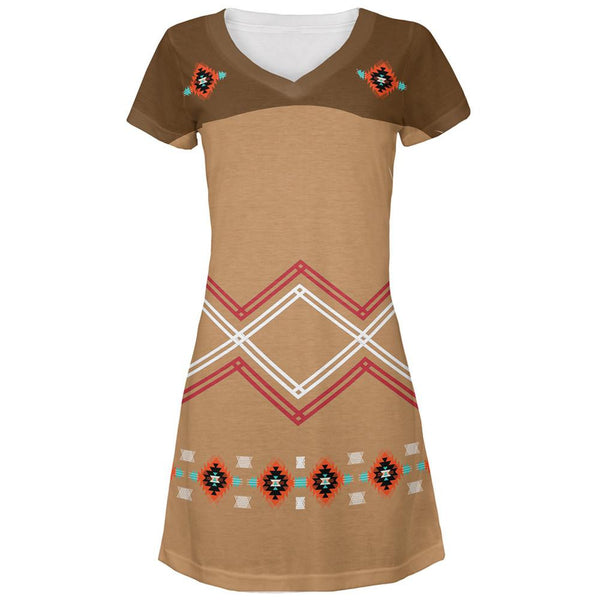 Halloween Native American Pattern All Over Juniors V-Neck Dress