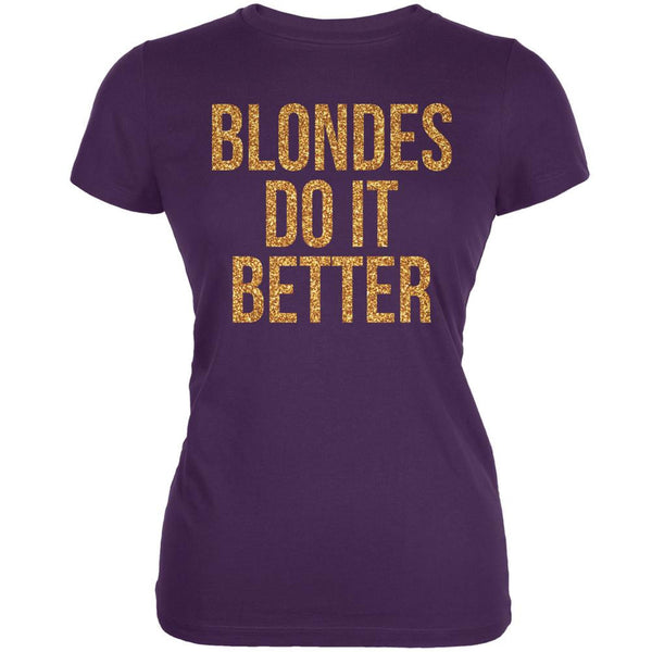 Blondes Do It Better Purple Juniors Soft T-Shirt