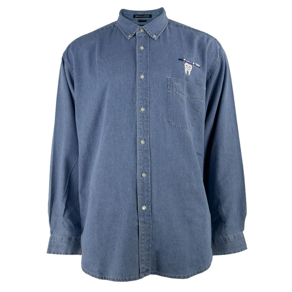 Smile Toothbrush Denim Buttondown Long Sleeve Shirt
