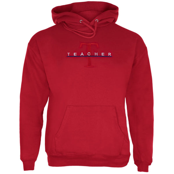 Teacher Big T Logo Embroidery Red Adult Pullover Hoodie