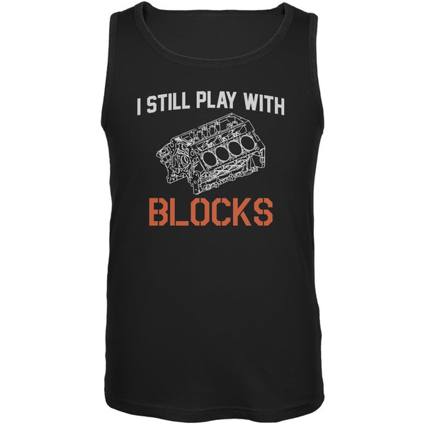 Auto Racing I Still Play With Blocks Black Adult Tank Top