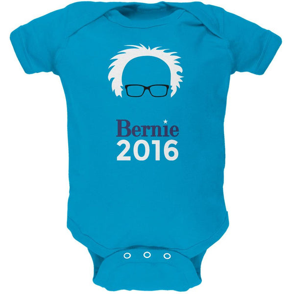 Election 2016 Bernie Sanders Hair Minimalist Turquoise Soft Baby One Piece
