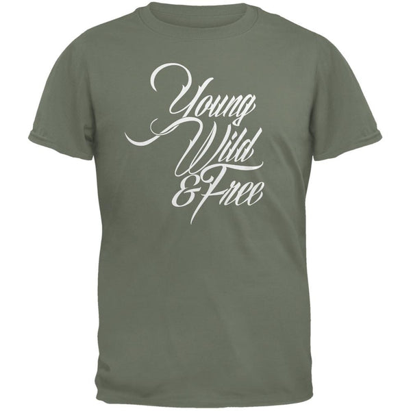 Young Wild & Free Military Green Adult T-Shirt