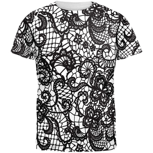 Black And White Lace All Over Adult T-Shirt