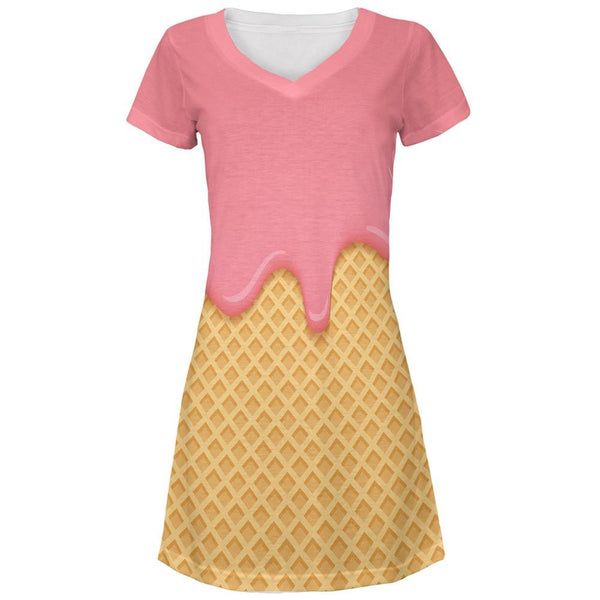 Pink Melting Ice Cream Cone All Over Juniors V-Neck Dress