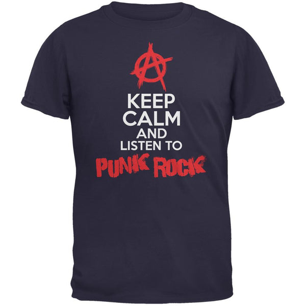 Keep Calm And Listen To Punk Rock Navy Adult T-Shirt