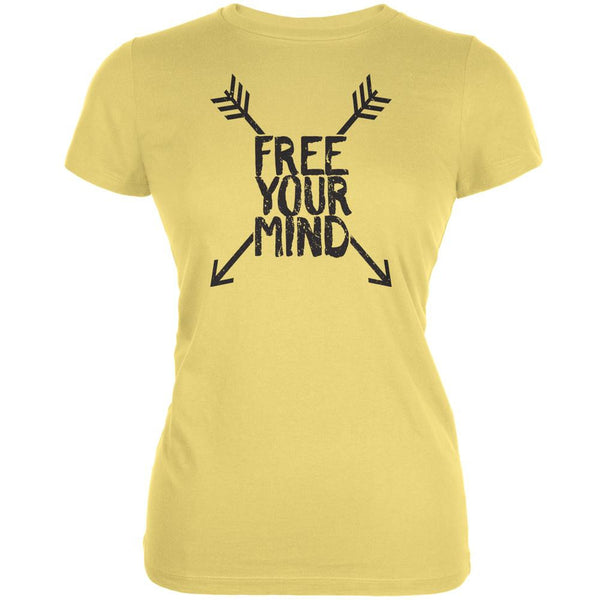 Free Your Mind Yellow Juniors Soft T-Shirt