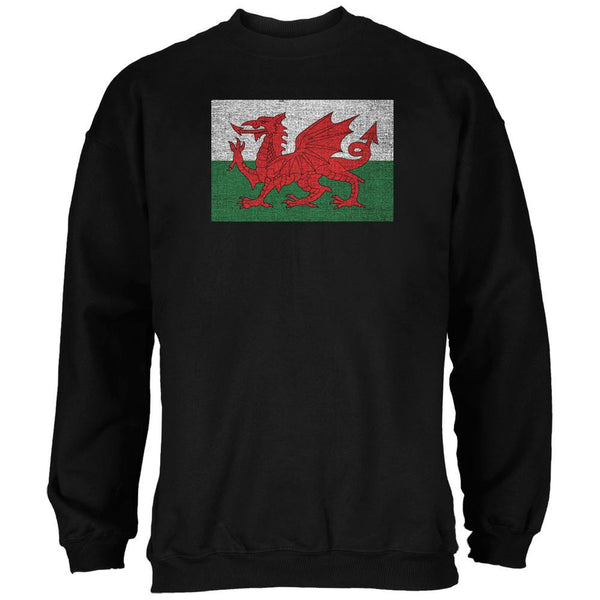 Welsh Flag Distressed Black Adult Sweatshirt