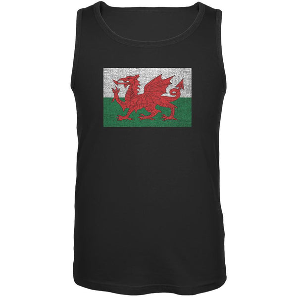 Welsh Flag Distressed Black Adult Tank Top