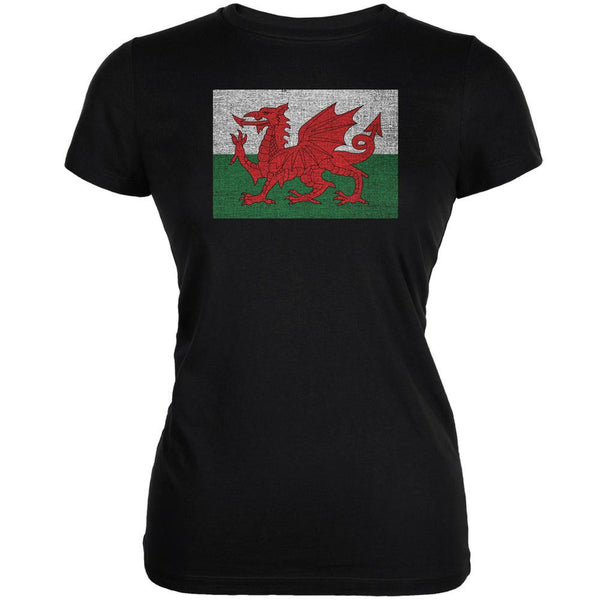 Welsh Flag Distressed Black Juniors Soft T-Shirt
