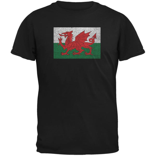 Welsh Flag Distressed Black Youth T-Shirt