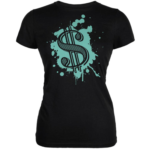 Splatter Dollar Sign Black Juniors Soft T-Shirt