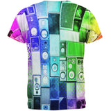 Retro Speakers Rainbow All Over Adult T-Shirt