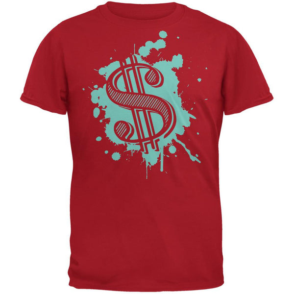 Splatter Dollar Sign Red Adult T-Shirt