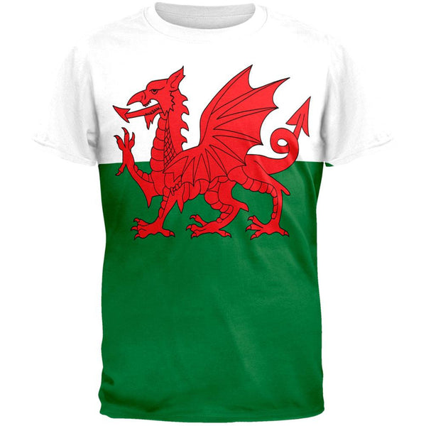 Welsh Flag All Over Adult T-Shirt