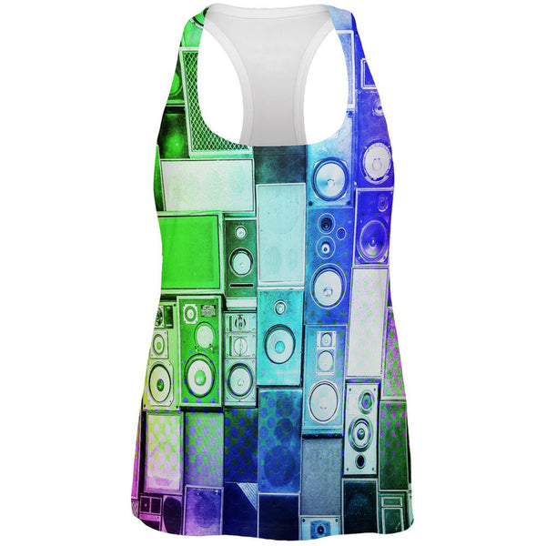 Retro Speakers Rainbow All Over Womens Racerback Tank Top