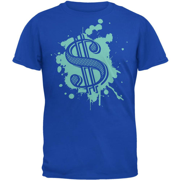 Splatter Dollar Sign Royal Adult T-Shirt