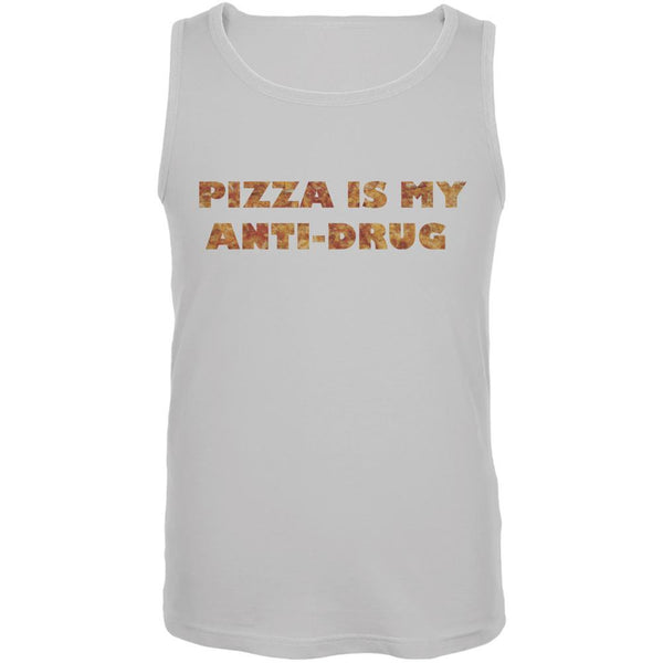 Pizza Is My Anti-Drug White Adult Tank Top