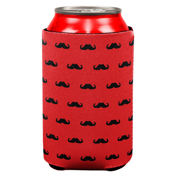 Red & Black Mustaches All Over Can Cooler