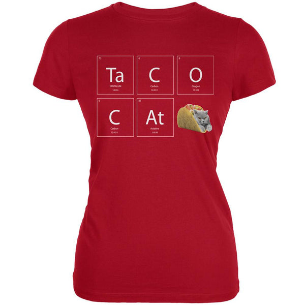 Taco Cat Periodic Table Red Juniors Soft T-Shirt