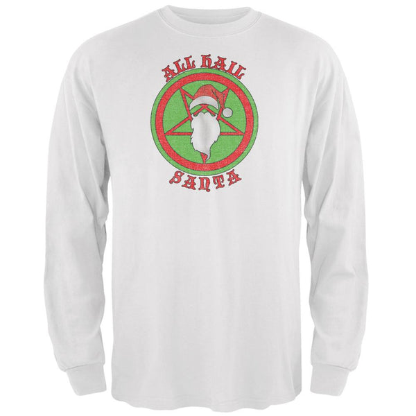 Christmas All Hail Santa Funny White Adult Long Sleeve T-Shirt