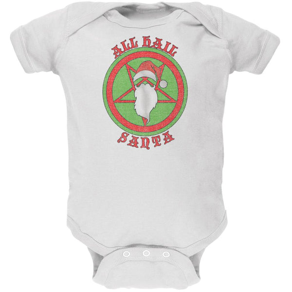 Christmas All Hail Santa Funny White Soft Baby One Piece