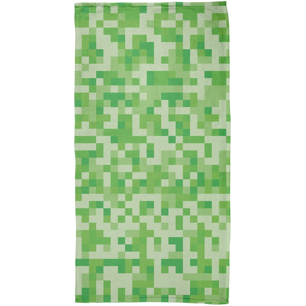 Green Pixels All Over Beach Towel