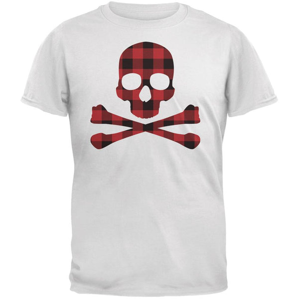 Plaid Skull & Crossbones White Adult T-Shirt