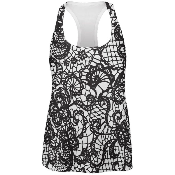 Black And White Lace All Over Womens Racerback Tank Top