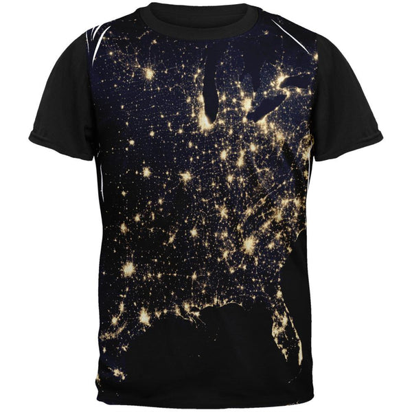 Outer Space Earth At Night Adult Black Back T-Shirt