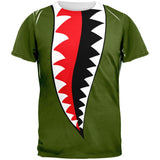 WWII Fighter Plane Jaws All Over Adult T-Shirt