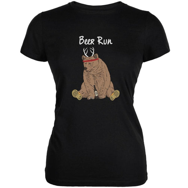 Beer Run Black Juniors Soft T-Shirt