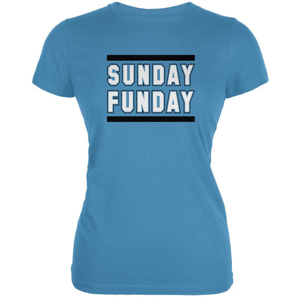 Sunday Funday Carolina Aqua Juniors Soft T-Shirt